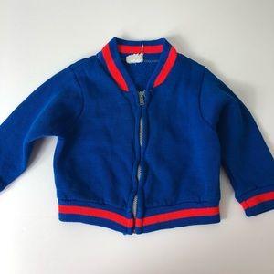 Vintage Bomber Sweatshirt Zipper Blue 817